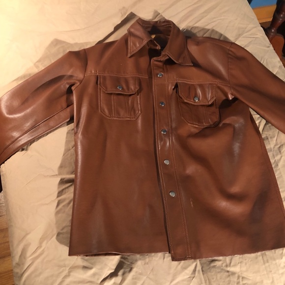 Brigade Other - COPY - Vintage Brown Leather Button-Up Jacket